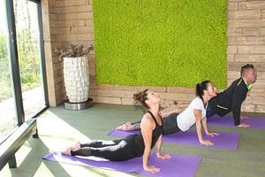Hatha yoga cobra houding, strekken armen en bovenlichaam, rekken van borst en buik