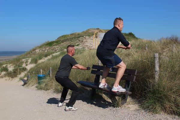 Personal training duo outdoor